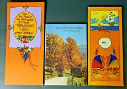 Vintage Rare Hallmark Thanksgiving Cards Humorous / Nice Lot Of 3 Cards Nos