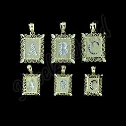 10k Solid Yellow Gold Initial Letter Plate Pendant A-z Alphabet Charm - 2 Sizes