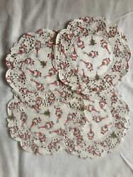 """16 Vintage Craft Round 6"""" Inch White Santa Christmas Tree Paper Lace Doilies"""