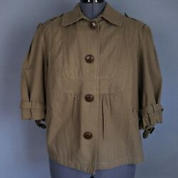 Relativity Womens 2x Jacket Olive Green Plaid 3/4 Sleeve Button Front Cotton Nwt