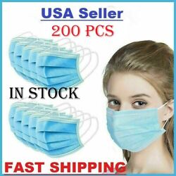Face Mask Disposable Medical Surgical Dental 3-ply Earloop Mouth Cover 200 Pcs