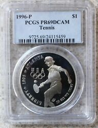 1996 P Olympic Tennis Proof Silver Dollar Commemorative Coin Certified Pcgs Pr69