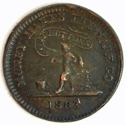 1863 Civil War Token Knickerbocker Currency Money Makes The Mare Go It Buttons