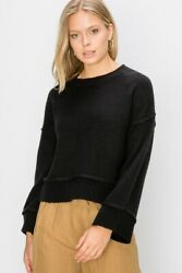 Double Zero Nordstrom Black Long Sleeve Boxy Fit Pullover Sweater $23.95