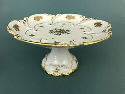 Reichenbach Germany 1003-p Gold Floral And Trim Pedestal Cake Plate Stand 11 3/4''