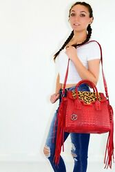Raviani Fringe Satchel In Red Embossed Croco And Leopard Hair On Cowhide Leather