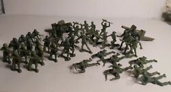 Vintage Lot Of 40 Mpc Army Men 12 Poses And 2 Tim-mee Toys Cannons