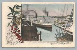 Harbor Scene W Steamer Ship And Sail Boat Portland Or Merry Christmas Hand Colored