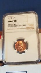 1948 Lincoln Wheat Cent Ngc Graded Ms-67 Rd Certification 6013168-006