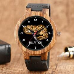 Ball Python Lover Bamboo Natural Wood Gift Watch Leather Strap Laser Engraving