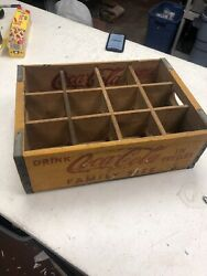Yellow 1955 Coke Coca Cola Drink In Bottles Pop Crate Wood Vintage Farmhouse