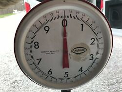 Vintage Chatillon Pound Weight Red Hanging Basket Hardware Scale Store Counter
