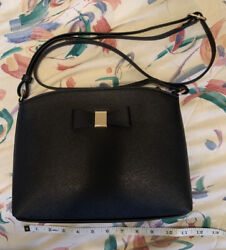 Faux Leather Black Crossbody Purse With Bow Striped Interior $13.99