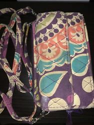 vera bradley all in one crossbody wallet Purse Double Zipper Smartphone Purple $21.00