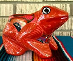 Lg Frog Mexican Talavera Pottery Flower Pot Planter Ceramic Indoor Or Outdoors