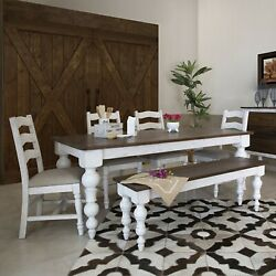 Crafters And Weavers Avalon Rustic Farmhouse 6 Piece Dining Set