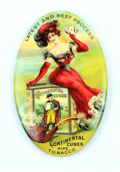 Antique Continental Cubes Tobacco Celluloid Advertising Pocket Mirror