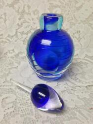 Vintage, 2-pc Heavy, 7-inch Blue Glass Perfume Bottle With Lid And Dipper