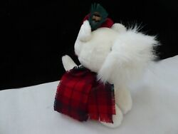 Stuffed White Westie Highland Terrier With Tartan Hat And Scarf