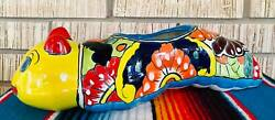 Lg Worm Mexican Talavera Pottery Flower Pot Planter Ceramic Indoor Outdoors