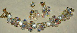 Juliana Delizza And Elster Aurora Borealis Faceted Crystal Bracelet And Earrings