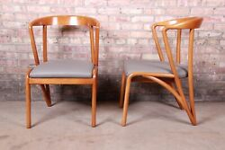 Baker Furniture Mid-century Modern Sculpted Solid Maple Armchairs, Pair