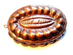 French Old Copper Cake Mold Oval Shape Tinned Interior