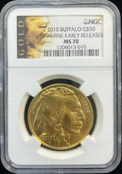 2010 Buffalo 50 Dollar Gold Coin Early Releases Ngc Ms 70