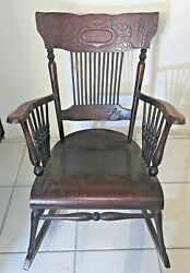 Antique Hand Carved Wood Rocking Chair North Wind Face