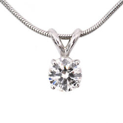 0.65ct G - Si2 Round Diamond Solitaire Necklace Pendant On 16 14k Gold Chain