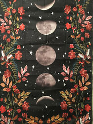 """NEW Red Roses Trimmed Moon Phases Black Tapestry 60quot;x40"""" Wall Decor"""