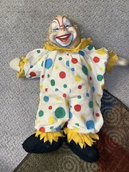 Antique The Rushton Company Rubber Faced Clown Stuffed Doll 21 In