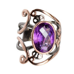 Top Class Amethyst 925 Sterling Silver Rose Gold Plated Ring Sz 8.5 Fsj-631