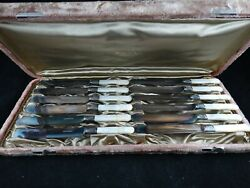 Vintage Webb C. Ball Cleveland. O. 12 Piece Butter Knives-mother Of Pearl Handle
