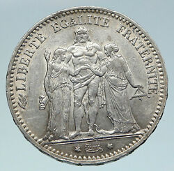 1874 A France Hercules Group Antique Vintage Silver 5 Franc French Coin I86433