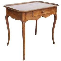 Antique French Provincial Louis Xv Style Walnut Gallery Top Rectangular Side Tab