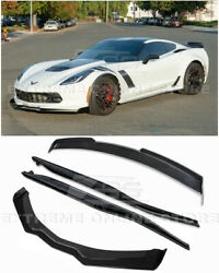 For 14-19 Corvette C7 Z06 Stage 2.5 Carbon Flash Front Lip Side Skirts And Spoiler