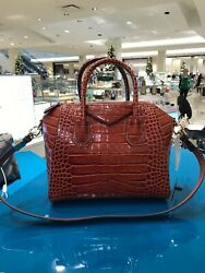 Womenand039s Givenchy Small Antigona Croc Embossed Leather Satchel Brown