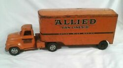 Vintage 1950and039s Tonka Toys Orange Allied Van Lines Toy Semi Truck And Trailer