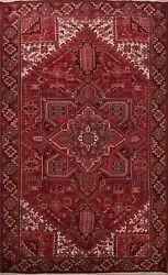 Excellent Semi Antique Traditional Area Rug Red Hand-knotted Wool Carpet 10x13