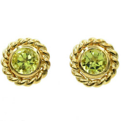 Vintage And Co. Green Peridot Stud Earrings In 18k Yellow Gold, 7.8 G