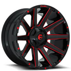 24x14 Fuel Wheels D643 Contra 8x180.00 Gloss Black Red Milled -75 S42