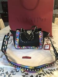 100 Authentic Valentino Rockstud Small Pebbled Leather Tote- Black Brand New