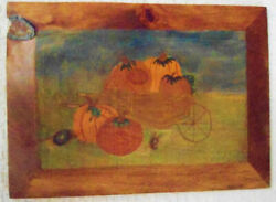 Pumpkins In A Cart Painting Original On Wood Signed Fall/thanksgiving Decor
