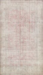 Muted Semi Antique Traditional Distressed Handmade Area Rug Evenly Low Pile 8x11