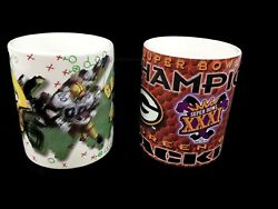 Vintage Set Of 2 1996 Green Bay Packers Super Bowl 31 Champs Coffee Mugs Cups