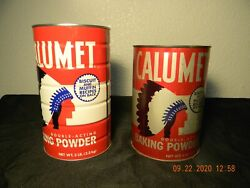 Vintage Calumet Double Acting Baking Powder Tins Two Great Tin Here.