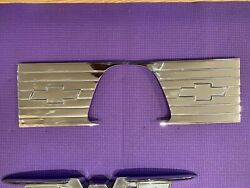 1957-1958 Original Chevy Cameo Truck Bed Inserts Bow Ties Pair Show Chrome