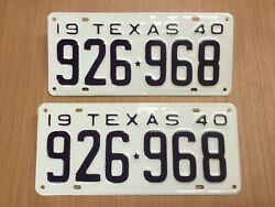 Vintage 1940 Texas Tx. License Plate Set Very Nicely Restored High Quality