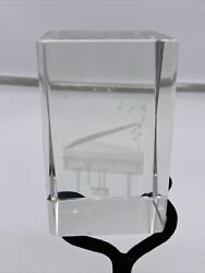 Beautiful 3d Laser Etched Crystal Glass Paperweight Grand Piano Bench Notes